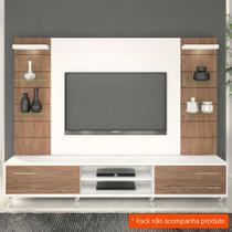 Painel para TV 60 Polegadas Veneza Branco Fosco e Carvalho Évora 240 cm - Knr móveis