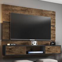 Painel Para Tv 65 Polegadas 2 Portas âmbar Madeira Rústica/preto Fosco - Móveis Bechara -