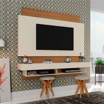 Painel para TV 65 Polegadas Araxá Branco Brilho e Freijo 181 cm - Dalla costa