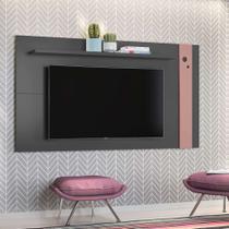 Painel para TV até 46 Polegadas Eyre Grafite e Rosé - Olivar móveis