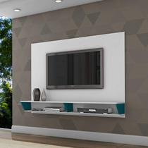Painel para TV até 47 Polegadas 2 Nichos Leblon Retrô Siena Móveis Branco/Azul -