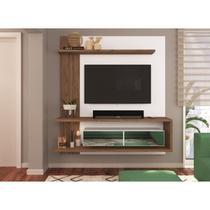 Painel para TV até 50 Polegadas 2 Portas Basculantes Espelhadas 3 Prateleiras Est203 Criando Mobília Branco/Madeirado - Criando Mobilia