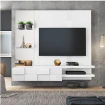 Painel para TV até 50 Polegadas com Espelho Turim DJ Móveis Branco Laca -