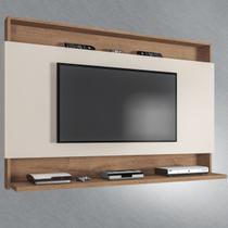 Painel Para Tv Até 50 Polegadas Madri 1 Prateleira Canelato Rústico/3d Natura Off White - Atualle Móveis