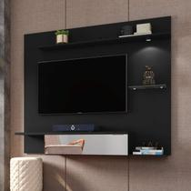 Painel para TV até 55 Polegadas com LED e Espelho Móveis Bechara Preto Fosco -