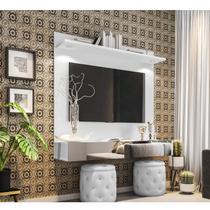 Painel  para TV até 55 Polegadas Espelho e LED Moscou Siena Móveis Branco -