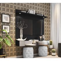 Painel  para TV até 55 Polegadas Espelho e LED Moscou Siena Móveis Preto -