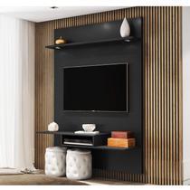 Painel  para TV até 55 Polegadas LED Munique Siena Móveis Preto -