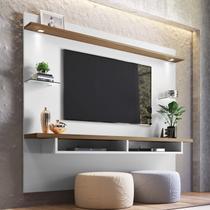 Painel para TV até 60 Polegadas 4 Prateleiras Veneza Espresso Móveis Off White/Nogueira -
