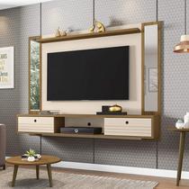 Painel para TV até 60 polegadas com Espelho 2 Portas Ametista Móveis Bechara Cinamomo/Off White -