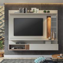 Painel para TV até 60 Polegadas com LED 1 Porta e Espelho Bahamas Permóbili Off White/Savana - Permobili