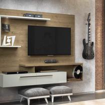 Painel para TV até 60 Polegadas com LED e Nicho Floripa Linea Brasil Avelã/Off White -