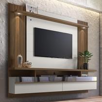 Painel para TV até 65 Polegadas com LED 3 Nichos 2 Portas e Espelho São Luís 2.2 Linea Brasil Off White/Nogueira -