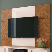 Painel para TV até 70 Polegadas Level Marrom Chevron e Off White - Hb móveis