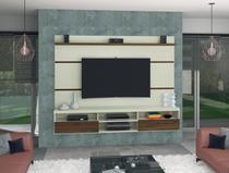 Painel para Tv até 72 polegadas Antares Offwhite com Carvalho - Germai Moveis