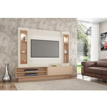 Painel Para TV Com Led e 1 Porta De Correr Off White Natural - Dalla Costa