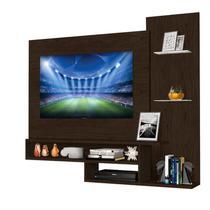 """Painel para TV de 50"""" com nichos e prateleiras de vidro Bruxelas Lacroux Noce -"""