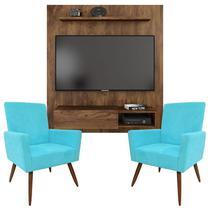 Painel Para Tv Dilleto Jatobá e Kit 2 Poltronas Decorativas Nina Azul Turquesa  Caemmun -