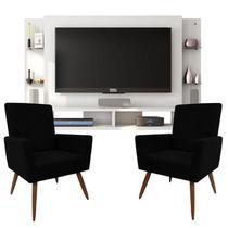 Painel Para Tv Domínio Branco e Kit 2 Poltronas Decorativas Nina Preto  Caemmun -