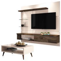 Painel para TV Home Suspenso Ores 1.8 e Mesa de Centro Lucy Off White  HB Móveis - HB Moveis