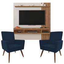Painel Para Tv Norton 1.8 Off White Buriti e Kit 2 Poltronas Decorativas Nina Azul Marinho  Caemmun -