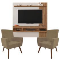 Painel Para Tv Norton 1.8 Off White Buriti e Kit 2 Poltronas Decorativas Nina Capuccino  Caemmun -
