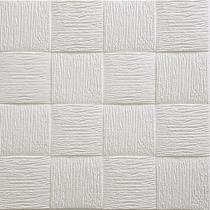 Painel Placa 3d Quadratto Branco Espuma Adesiva 70 X 70 Parede - Gf Casa Decor
