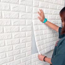 Painel Placa 3d Tijolo Branco Espuma Adesiva 70 X 76 Parede - Gf Casa Decor