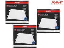 Painel plafon led 24w embutir quadrado 6500k branco frio bivolt - avant kit 03 unidades -