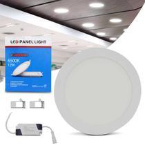 Painel Plafon Luminária Led Redonda 12W 6500K Branco Frio Bivolt Com Reator Embutir Teto Gesso Sanca - Prime