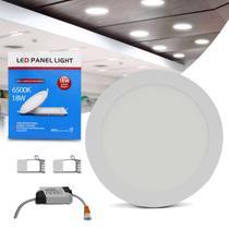 Painel Plafon Luminária Led Redonda 18W 6500K Branco Frio Bivolt Com Reator Embutir Teto Gesso Sanca - Prime
