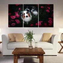 Painel quadros mosaico cachorros e gatos(pet) med. 105x65 ps 2mm adesivo fosco borda infinita - Atitude Signs