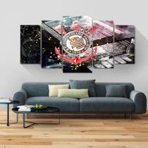 Painel quadros mosaico corinthians 5 peças med. 120x60 ps 2mm adesivo fosco impressão fotografica - Atitude Signs