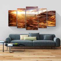 Painel quadros mosaico paisagem 5 peças med. 120x60 ps 2mm adesivo fosco impressão fotográfica - Atitude Signs