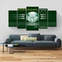Painel quadros mosaico time futebol palmeiras 5 peças med. 120x60 ps 2mm adesivo fosco - Atitude Signs