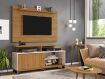 painel rack de tv 50 polegadas + 2 mesas sala 1 porta 136 cm profundidade 38 cm marrom e off white - Bechara