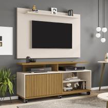 painel rack de tv 50 polegadas 5 prateleiras com rodas 1 porta largura 136 cm cor marrom e off white - Bechara