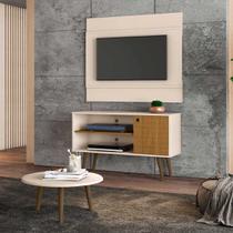 painel rack tv 42 polegadas + mesa de centro para sala 1 porta largura 108 cm altura 65 cm off white - Bechara