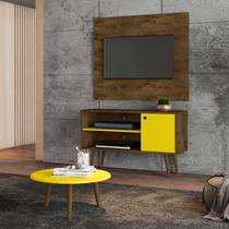painel rack tv 42 polegadas + mesa de centro para sala 2 nichos 108 cm altura 65 cm marrom e amarelo - Bechara