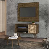 painel rack tv 42 polegadas + mesa de centro para sala 2 nichos 108 cm profundidade 36 cm cor marrom - Bechara