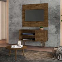 painel rack tv 42 polegadas + mesinha para sala 1 porta 2 nichos pé palito largura 108 cm cor marrom - Bechara