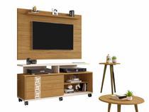 painel rack tv 50 polegadas + 2 mesas 5 prateleiras 1 porta 136 cm altura 63 cm marrom e off white - Bechara