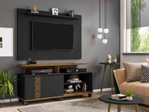painel rack tv 50 polegadas + 2 mesas sala com rodas 1 porta 5 prateleiras 136 cm cor marrom e preto - Bechara