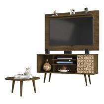 painel rack tv 50 polegadas + mesa de centro para sala 4 nichos pé palito 135 cm altura 67 cm marrom - Bechara
