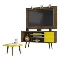 painel rack tv 50 polegadas + mesa de centro para sala pé palito largura 135 cm cor marrom e amarelo - Bechara
