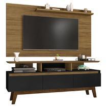 painel rack tv 50 polegadas para sala 3 portas 3 nichos 160 cm profundidade 38 cm cor marrom e preto - Bechara