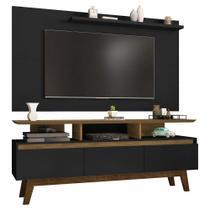 painel rack tv 50 polegadas para sala de estar 3 portas 160 cm profundidade 38 cm cor marrom e preto - Bechara