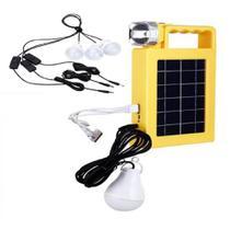 Painel Solar Kit De Emergencia Lanterna Placa 3 Lampadas Carregador Power Bank Luminaria Energia Usb - Makeda