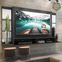 """Painel TV 60"""" c/ Suporte, Espelho e Nichos Tókio Multimóveis Preto -"""