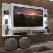 """Painel TV 60"""" com 2 Leds e Prateleiras de Vidro Vegas Multimóveis Branco -"""